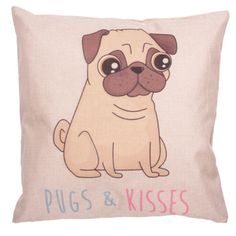 #pug #dog Cute PRICE £9.49 Cute 'Pugs & Kisses' Pug Dog Cushion. Dimensions: Height 43cm Width 43cm Depth 13cm. Various other Pug items can be found on our website, check them out you pug lovers!