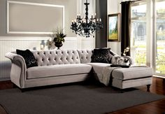 Rotterdam French Style Gray Premium Fabric Sectional Sofa Couch