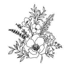 Artist Alli Koch on Art Floral, Floral Drawing, Simple Flower Drawing, Tattoo Sketches, Tattoo Drawings, Art Drawings, Art Tattoos, Flower Sketches, Line Drawings Of Flowers