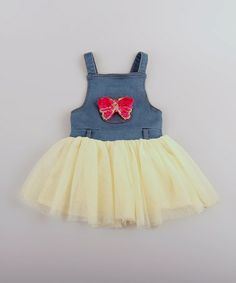 Love this Yellow & Denim Bow Tutu Dress - Infant, Toddler & Girls by Mia Belle Baby on #zulily! #zulilyfinds