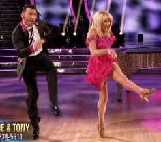"""Dancing With the Stars -  Tony Dovolani  & Suzanne Somers danced an energetic jive to Jerry Lee Lewis'  """"Whole Lotta Shakin' Goin' On""""  -  week-2 -  season-20  -  spring 2015 - score - 7+7+7+7 = 28"""