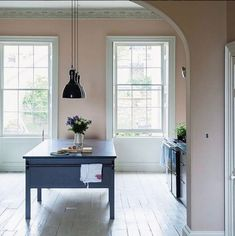 Farrow and Ball Dead Salmon on walls and Railings on island   10 Beautiful Rooms - Mad About The House