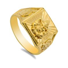 Gold Chain Men Yellow - Yellow Gold Ganesha Ring for Men. Gorgeous yellow gold ring which showcases the magestic elephant god, Ganesha. Great for daily and occasional wear. Contact us for sizing. Gold weight is 8 grams. Mens Gold Jewelry, Gold Jewellery Design, Gold Chains For Men, Angel Wing Earrings, Yellow Gold Rings, Bracelets For Men, Rings For Men, Diwali 2018, Ganesha