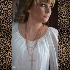 Brass Cross necklace, Long, layered necklace with rhinestone cross and matching earrings! (beautifulyoubymegan.com)