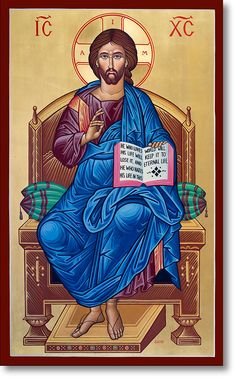 Christ Enthroned original icon 36' tall Orthodox Catholic, Catholic Art, Religious Icons, Religious Art, Monastery Icons, Christ Pantocrator, Church Icon, Bible Images, Biblical Art