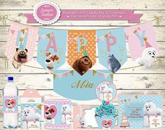 **** ★ COMPLETE PARTY SET PRINTABLE ★**** ❤ ALREADY ARRIVED printable KITS SECRET LIFE OF YOUR PETS! ❤ WHAT IS INCLUDED IN THE KIT? - Tag Souvenir thanks for coming - Hershey Bar wrapper - Candy Bar - Labels Multipurpose 5cm round - Banner that reads HAPPY BIRTHDAY and your childs name - Printable personalized mug (23cm x 8cm image) - Notebook Clipart Souvenir (10.5cm x 15cm image) - Invitation to print or e-mail - Happy Birthday Poster Your Welcome - Water bottle labels - Cupcake wrapp...