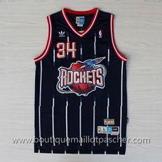 maillot nba pas cher retro Houston Rockets Olajuwon #34 Bleu marine mesh tissu 22,99€