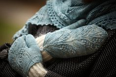 Most beautiful! Ravelry: Aglow Mittens pattern by Kristina Vilimaite. Warm mitts with lace cover.