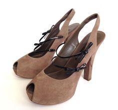 4c317ba85c90 Louis Vuitton Taupe Suede Peep Toe Platform High Heel Shoes Gold Logo 38.5 8