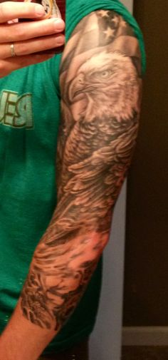 Bald Eagle American Flag sleeve tattoo