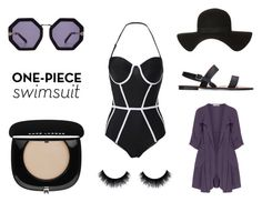 """Simple purple"" by stylishbeauties ❤ liked on Polyvore featuring Oliver Jung, Karen Walker, Topshop, Marc Jacobs and onepieceswimsuit"
