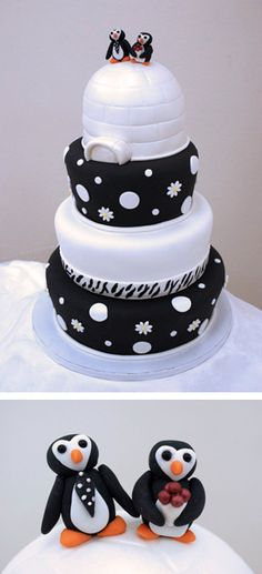 Black & white igloo & penguins this will good birthday cake of Kaleb his first birthday cake