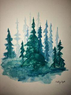 Pine Tree Forest / Watercolor Trees / Tree Art by AshbyOrgillartCo