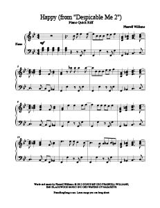 Happy (from Despicable Me 2) - Pharrell Williams  free piano sheet music. MORE: www.PianoBragSongs.com.