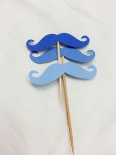 12 Blue Ombre Mustache Theme Party -  Blue Mustache Cupcake Toppers - Baby Shower Decor - Gender Reveal - Movember Prostate Cancer Awareness...