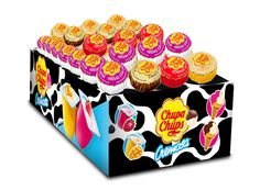 Cremosa Chupa Chups Lollipops in Creamy Ice Cream Flavors. Display box contains 48 Cremosa Chupa Chups in Choco-vanilla, Strawberries & Cream, Mango Yogurt and Strawberry Yogurt flavors. Each pop is approximately 3' in length, including the stick and 1' in diameter.