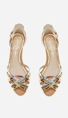 copper, gold and silver sandal