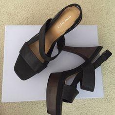 Nine West Platform Sandal (Worn once) Nine West Leather Platform Sandal Women's size 7 M $129 NEW Nine West Shoes Platforms