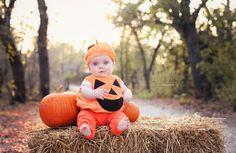 First Halloween!! My sweet pumpkin!  Baby pumpkin costume, Halloween photos, Fort Worth Family Photographer, Erika Kalina Photography