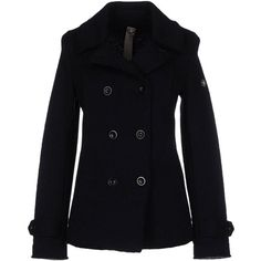 Swiss-chriss Coat ($287) ❤ liked on Polyvore featuring outerwear, coats, dark blue, black coat, swiss chriss, double-breasted coat, long sleeve coat and black double breasted coat
