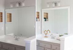 New Diy House Projects Bathroom Mirror 33 Ideas Bathroom Mirror Makeover, Bathroom Mirrors Diy, Bathroom Renos, Bathroom Renovations, Small Bathroom, Bathroom Ideas, Washroom, Wall Mirrors, Frame A Mirror