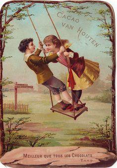 ♥CACAO VAN HOUTEN - CHILD STUDIES - VH1-B-8-2 - BOY AND GIRL ON SWING,