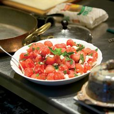 Watermelon Salad with Feta and Mint | This easy summer salad is perfect to make for a cookout or party because there's no lettuce to get soggy. Jacques Pepin agrees. His friends Faith Middleton (host of NPR's The Food Schmooze) and veteran publicist Fern Berman once brought a watermelon salad to one of his parties. He loved it and was inspired to create this recipe.