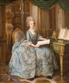 Thought to be a portrait of Marie-Antoinette, the painting's subject has been identified as Madame Sophie, because of her library's distinctive parquet floor.