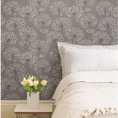 NuWallpaper Peel and Stick ft Grey Vinyl Floral Self-Adhesive Peel and Stick Wallpaper at Lowe's. Modern florals adorn this chic peel and stick wallpaper that lets you enjoy the beauty of traditional wallpaper without all the time and commitment. Embossed Wallpaper, Brick Wallpaper, Grey Wallpaper, Wallpaper Panels, Vinyl Wallpaper, Wallpaper Roll, Peel And Stick Wallpaper, Wallpaper Designs, Bathroom Wallpaper