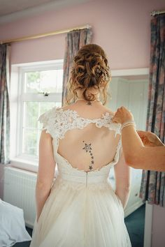 Wedding Backless Dress Bride Tattoo http://www.frecklephotography.co.uk/