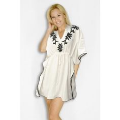 White & Black Ari Embroidered Plus Size Kaftan. Elegant embroidered beach kaftans are also popular these days when it comes to stylish beach wear for women. Laleela's exclusive collection of beach cover ups showcases these loose garments which when worn leaves the wearer free giving her a relaxed sensation. For more details visit https://www.laleela.com/beach-caftan-kaftan/white-black-ari-embroidered-plus-size-kaftan.html