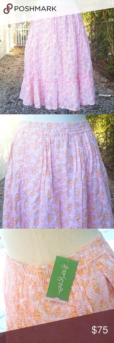 ??NWT?? Lilly Pulitzer Bee Largo Linen Skirt sz XS New with tags gorgeous Lilly Pulitzer past knee skirt with bees pattern. Pink, white, and orange. Largo style. 100% Linen.   $158 New. Womens sz XS.  Please prefer to measurements below for fit. ?Waist 28 inches ?Hips 38 inches ?Length 24 inches Lilly Pulitzer Skirts