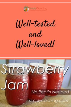 Strawberry Jam Strawberry Rhubarb Jam, Strawberry Jam Recipe, Gourmet Gift Baskets, Gourmet Gifts, Rhubarb Jam Recipes, Water Bath Canning, Fruit Jam, Canning Recipes, Easy Canning