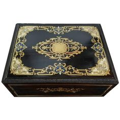 450 H 5.1 in. x W 12.9 in. x D 9.8 in.  19th Century French Napoleon III Bijoux Box | From a unique collection of antique and modern Jewelry Boxes at https://www.1stdibs.com/furniture/decorative-objects/boxes/jewelry-boxes/.