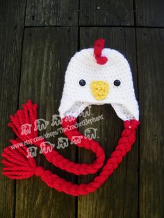 Happy Chicken Hat Newborn by TheCrochetElephant on Etsy, $15.00