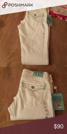 Jeans White and Turquoise  skinny jeans new never worn True Religion Jeans Skinny
