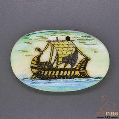 Creative Scrimshaw Pendant  Carved Hand Painted Sailboat  Stamp ZL201137 #ZL #Pendant