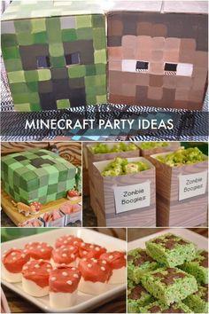 Minecraft boy's birthday party www.spaceshipsandlaserbeams.com