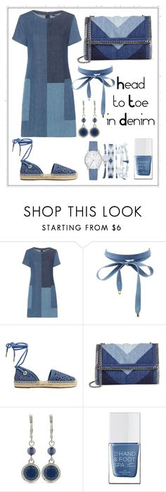 """""""Head to toe in Denim!"""" by m13chlobo ❤ liked on Polyvore featuring J Brand, Charlotte Russe, MICHAEL Michael Kors, STELLA McCARTNEY, Nine West, The Hand & Foot Spa and A.X.N.Y."""