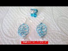 Conjunto de pendientes y anillo en alambre