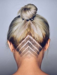 Undercut | Women's Updo Undercut Hairstyles with Hair Tattoos Shaved Neck |
