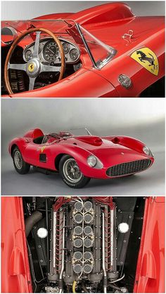 Forza Ferrari! This 1957 Ferrari 335 S Scaglietti Spider represents a bygone era. This car could do nearly 190 mph in 1957—that's modern day road going supercar speeds—so if you wanted to take on the world's best, this is the car you'd have to beat. Completed in early 1957, the car was fitted with a 3.8-liter V12 that featured twin cams per cylinder head, and churned out nearly 360 horsepower—better hp per liter than many modern performance cars. #ScuderiaFerrari #RedSeason