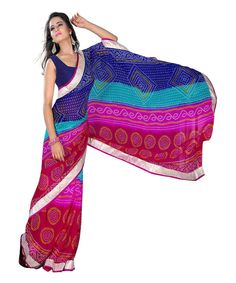 b23afd2953983 Buy Blue And Pink Bandhani Printed Georgette Saree