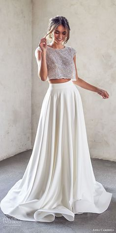 anna campbell 2020 bridal cap sleeves jewel neck embellished bodice crop top a line skirt wedding dress modern chapel train mv -- Anna Campbell 2020 Wedding Dresses Boho Wedding Dress With Sleeves, Top Wedding Dresses, Bridal Dresses, Wedding Gowns, Prom Dresses, Wedding Skirt, 2 Piece Wedding Dress, Modest Wedding, Anna Campbell