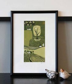 Art Collector Original Linocut Print, Limited Edition Linoleum Block Print, Original Artwork for living Space, Mothers Day Gift ideas Artwork For Living Room, Green Wall Art, Linoprint, Landscape Art, Landscape Pictures, Affordable Art, Linocut Prints, Lovers Art, Unique Art