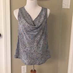 Lilla P blue printed cowl neck top sz M Lilla P blue, orange and white printed top with a drapey cowl neck. Size medium. 100% polyester, dry clean only. Silky feeling. Never worn. Lilla P Tops