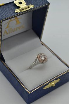 Square Double Halo Morganite Engagement Ring 14k Two-Tone Gold 1.38ct - Allurez.com