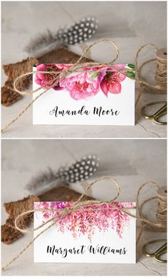 Floral simple wedding place cards with addition of twine #wedding #weddingideas #floral #flowers #wedding #placecards #tablecards #flowers #rustic #eco
