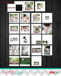 Modern Square Album design TEMPLATE  - layered .PSD files - Clean  Photography Templates - Modern Jane - adt BTS on Etsy, $20.00