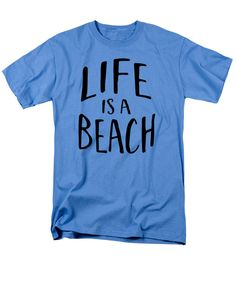 5b9a1f87 Life is a Beach Words black ink tee T-Shirt by Edward Fielding Beach Words